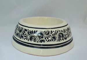 "Large Dog Bowl 11.2 X 3.9"" Black and White"