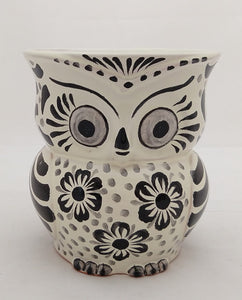 "Owl Flower Pot 5.5"" Height Black and White"
