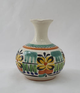 "Flower Mini Vase 4.3"" Height Green-Yellow"