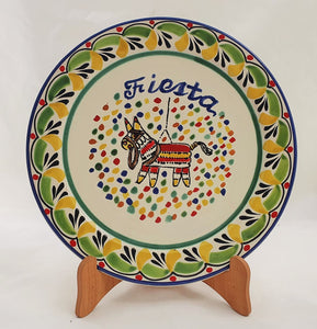 "Party Salad Plate 8.7"" D Fiesta Letters Green-Yellow Colors"