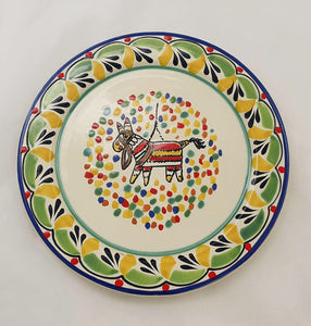 "Party Salad Plate 8.7"" D Green-Yellow Colors"