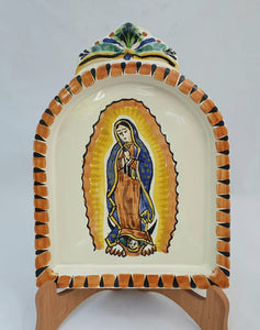 "Virgin Guadalupe AltarPiece 8.9"" Height Terracota-Blue Colors"
