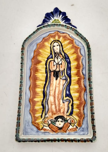Virgin Guadalupe Small AltarPiece Green-Blue Colors