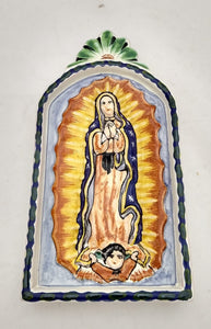 Virgin Guadalupe Small AltarPiece Blue-Green Colors