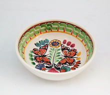 Butterfly Cereal Bowl 16.9 Oz Green-Red Colors - Mexican Pottery by Gorky Gonzalez
