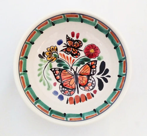 Butterfly Cereal Bowl 16.9 Oz Green-Terracota-Black Colors - Mexican Pottery by Gorky Gonzalez