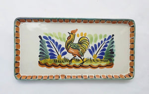 Rooster Rectangular Mini Tray 8.7*4.3 in Terracota-Blue-Yellow Colors