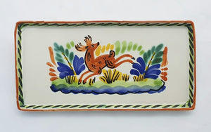 Deer Rectangular Mini Tray 8.7*4.3 in Blue-Terracota Colors