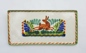 Rabbit Rectangular Mini Tray 8.7*4.3 in Terracota-Blue-Green Colors