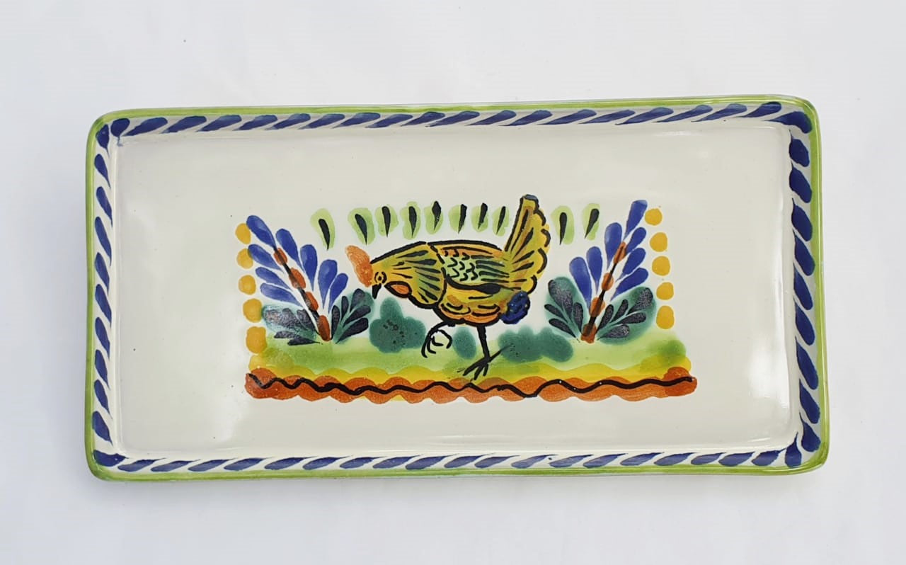 Hen Rectangular Mini Tray 8.7*4.3 in Blue-Yellow Colors