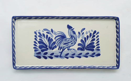 Rooster Rectangular Mini Tray 8.7*4.3 in Blue and White