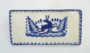 Rabbit Rectangular Mini Tray 8.7*4.3 in Blue and White