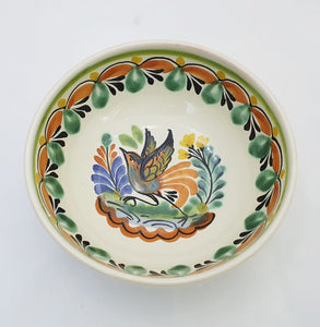 Bird Cereal Bowl 16.9 Oz Green-Terracota Colors - Mexican Pottery by Gorky Gonzalez