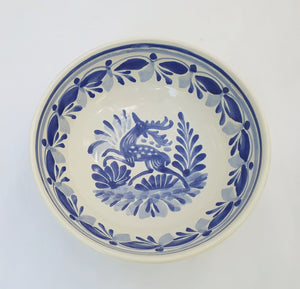 Deer Cereal/Soup Bowl 16.9 Oz Blue and White