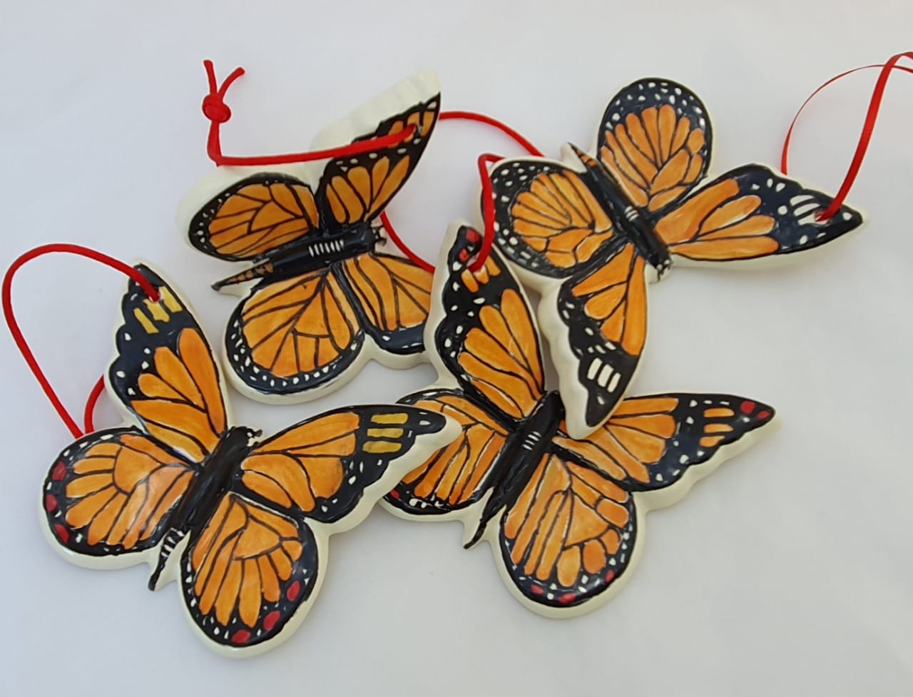 Ornament Butterfly Monarca Orange-Black Colors Set (4 pieces)