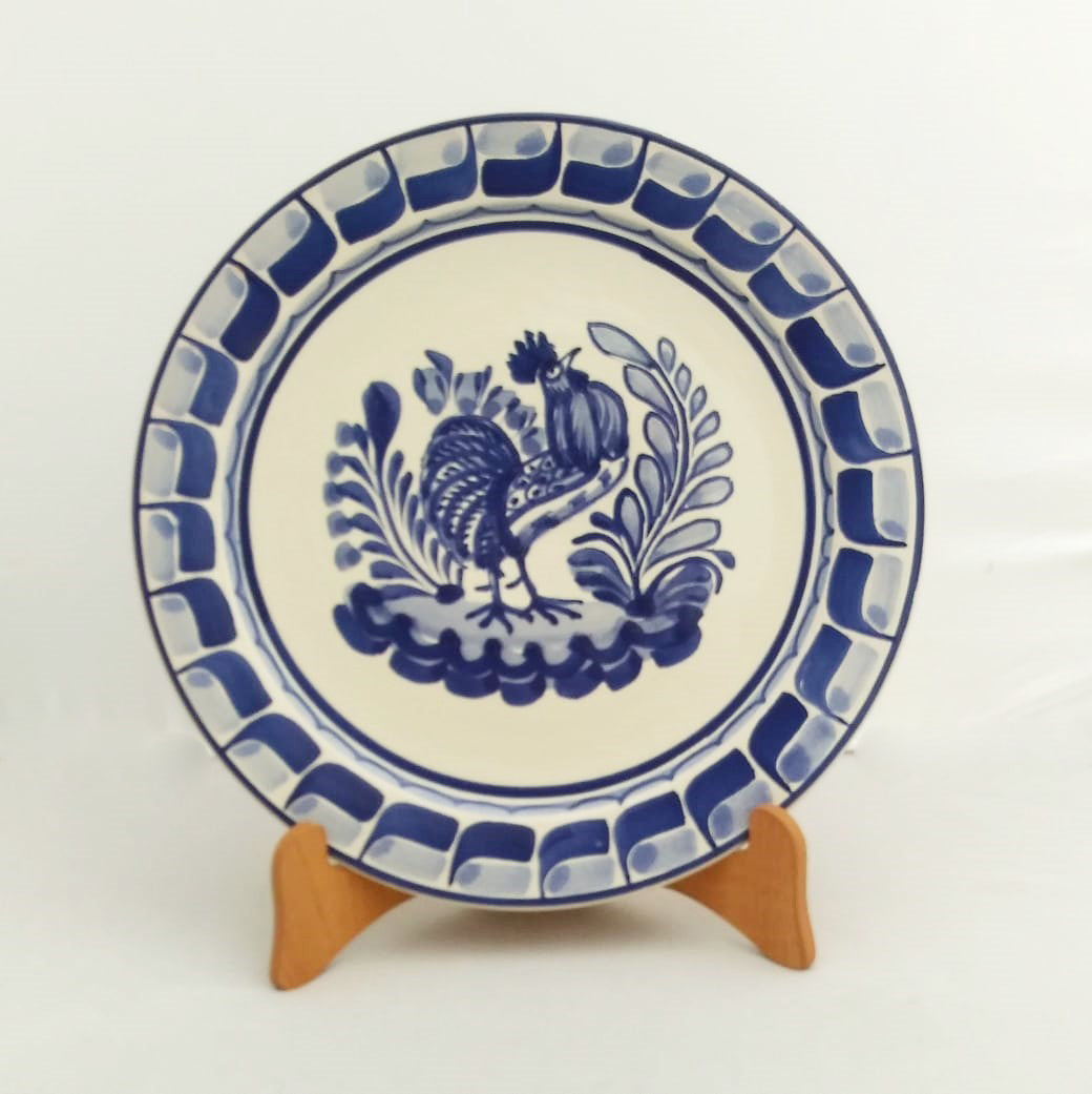 Rooster Plates Blue and White