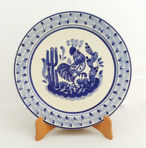 "Rooster Salad Plate 8.7"" D Blue and White"
