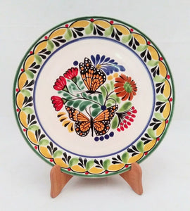 "Butterfly Base Dinner Plate 12"" D Yellow-Green Colors - Mexican Pottery by Gorky Gonzalez"