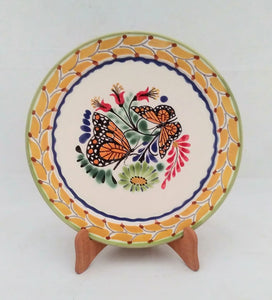 "Butterfly Base Dinner Plate 12"" D MultiColors - Mexican Pottery by Gorky Gonzalez"