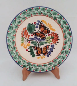 "Butterfly Base Dinner Plate 12"" D Green-Terracota-Orange Colors - Mexican Pottery by Gorky Gonzalez"