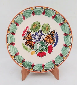 "Butterfly Base Dinner Plate 12"" D Green-Orange Colors - Mexican Pottery by Gorky Gonzalez"