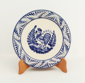 "Rooster Charger Dinner Plate 12"" D Blue and White"