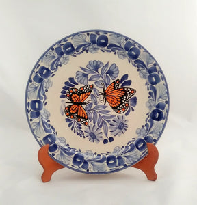 "Butterfly Dinner Plate 10"" D Blue-Orange Colors - Mexican Pottery by Gorky Gonzalez"