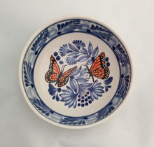 Butterfly Cereal Bowl 16.9 Oz Blue-Orange Colors - Mexican Pottery by Gorky Gonzalez