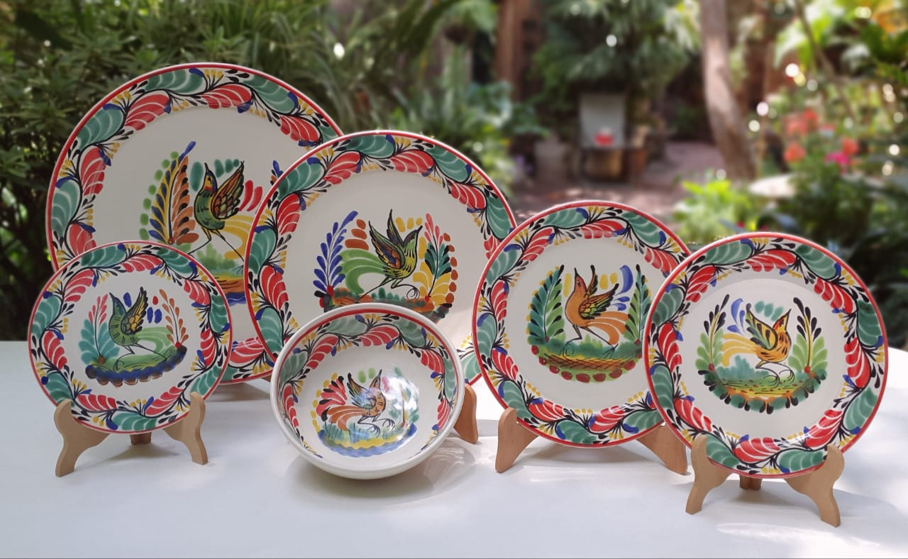 Bird Christmas Dish Set (6 pieces) for 1 Service - Mexican Pottery by Gorky Gonzalez