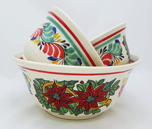 PoinSettia Salad Bowl Set of 3 Green-Red Colors