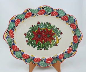"PoinSettia Tray / Serving Cut Flat Platter 15*11"" Green-Red Colors"