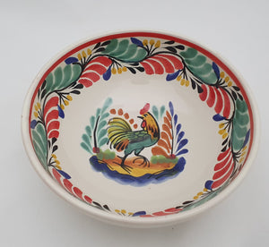 Rooster Cereal/Soup Bowl 16.9 Oz Green-Red Colors
