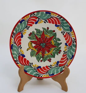"PoinSettia Bread Plate / Tapa Plate 6.3"" D Green-Red Colors"