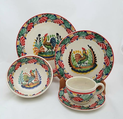 Rooster Dish Set (5 pieces) Red-Yellow Colors (One Service)