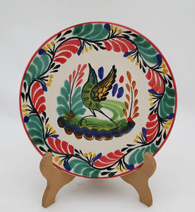 "Bird Bread Plate / Tapa Plate 6.3"" D Green-Red Colors"