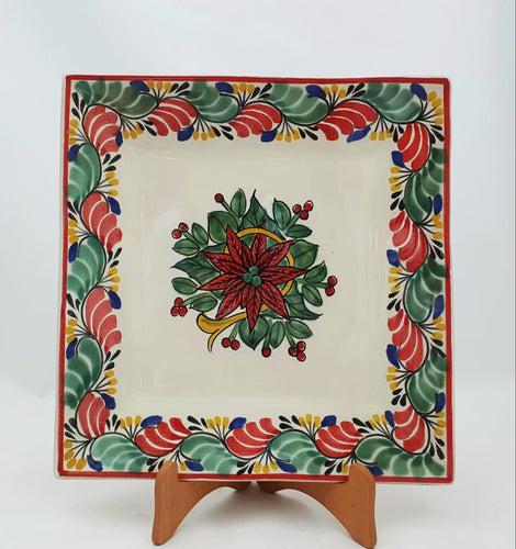 PoinSettia Dinner Square Plate 11x11