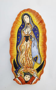 "Lady of Guadalupe Decorative Ceramic 11.5"" H Yellow-Blue Colors"