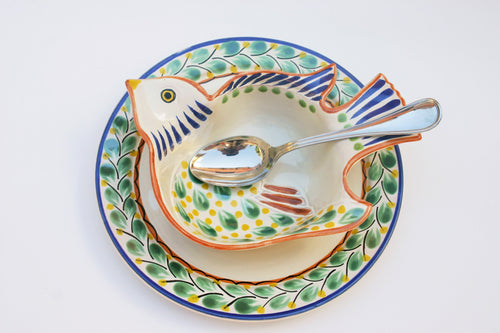 Bird Dish Set two pieces MultiColors - Mexican Pottery by Gorky Gonzalez