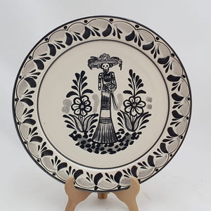 "Catrina Dinner Plate 10"" D Black and White - Mexican Pottery by Gorky Gonzalez"