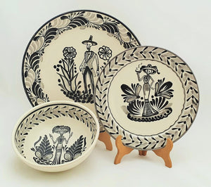 Catrina & Catrin Dish Set of 3 pieces Black and White - Mexican Pottery by Gorky Gonzalez
