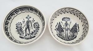 Catrina & Catrin Cereal Bowl 16.9 Oz Set of 2 pieces Black and White - Mexican Pottery by Gorky Gonzalez