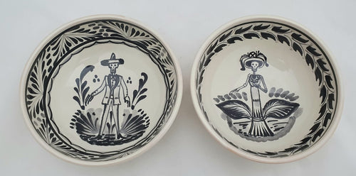 Catrina & Catrin Cereal Bowl 16.9 Oz Set of 2 pieces Black and White