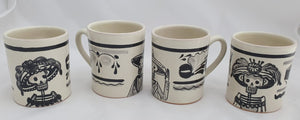 Catrina Coffe Mug Set of 4 pieces 13.9 Oz Black and White - Mexican Pottery by Gorky Gonzalez