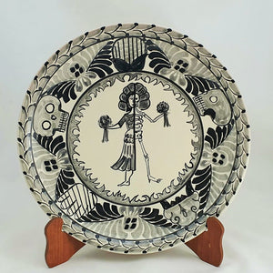 "Live & Dead / Catrina Decorative Platter 13"" D Black and White"