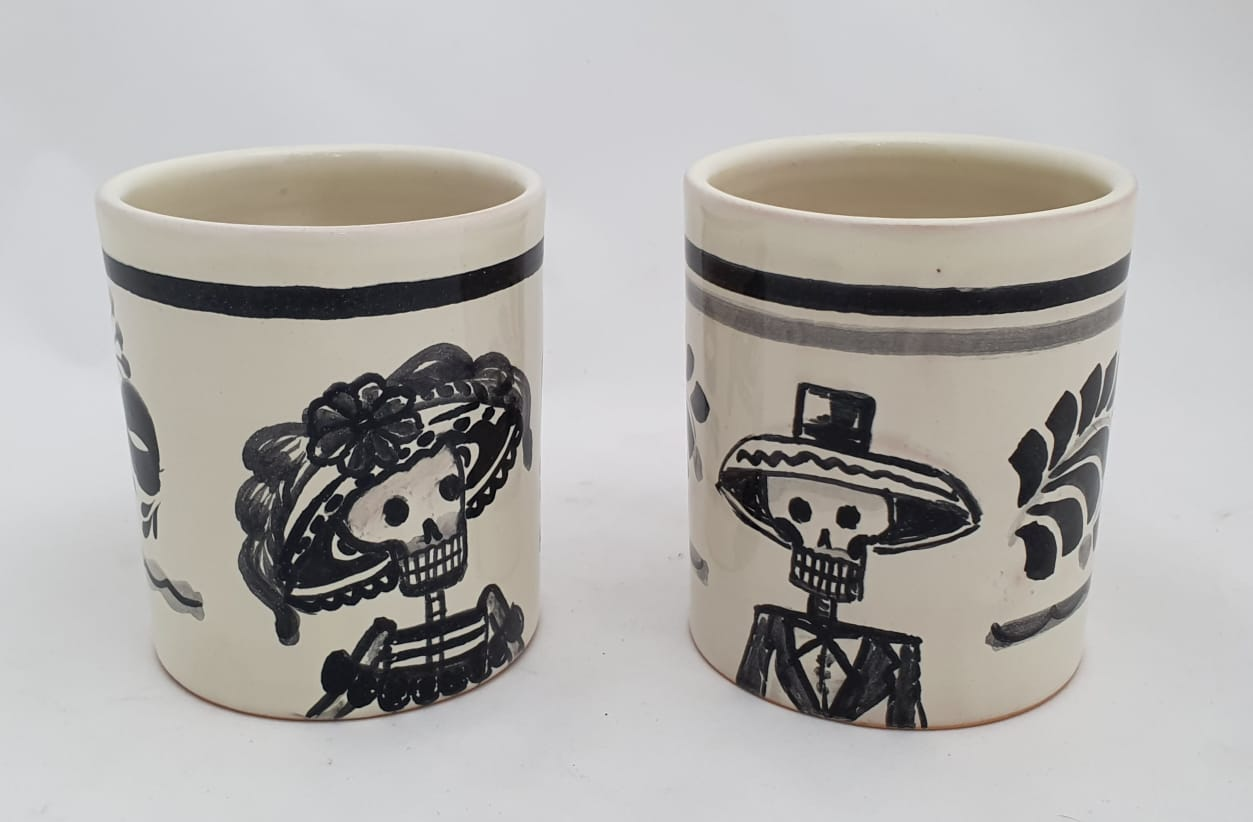 Catrina Coffe Mug Set of 2 pieces 13.9 Oz Black and White - Mexican Pottery by Gorky Gonzalez