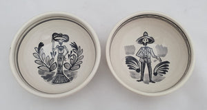 "Catrina Small Bowl Set of 2 pieces 4.9"" D Black and White"