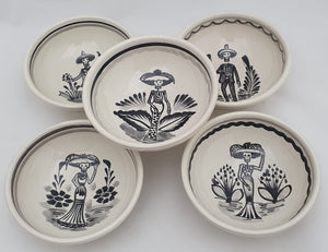 "Catrina Small Bowl Set of 5 pieces 4.9"" D Black and White"