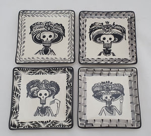 "Catrina Mini Square Plate / Tapa Plate 5*5"" Set of 4 Black and White - Mexican Pottery by Gorky Gonzalez"