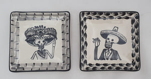 "Catrina Mini Square Plate / Tapa Plate 5*5"" Set of 2 Black and White - Mexican Pottery by Gorky Gonzalez"