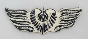 Ornament Heart w/wings Black and White